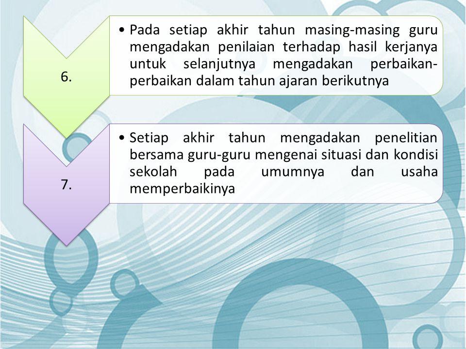 6. •Pada setiap akhir tahun masing-masing guru mengadakan penilaian terhadap hasil kerjanya untuk selanjutnya mengadakan perbaikan- perbaikan dalam ta