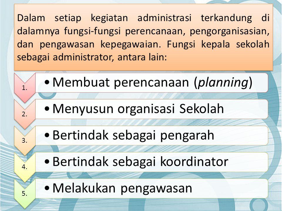 Dalam setiap kegiatan administrasi terkandung di dalamnya fungsi-fungsi perencanaan, pengorganisasian, dan pengawasan kepegawaian. Fungsi kepala sekol