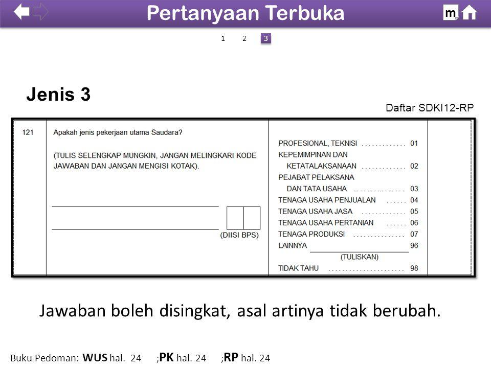 Jawaban boleh disingkat, asal artinya tidak berubah. Jenis 3 Daftar SDKI12-RP 100% SDKI 2012 Pertanyaan Terbuka m 12 3 3 Buku Pedoman: WUS hal. 24 ; P