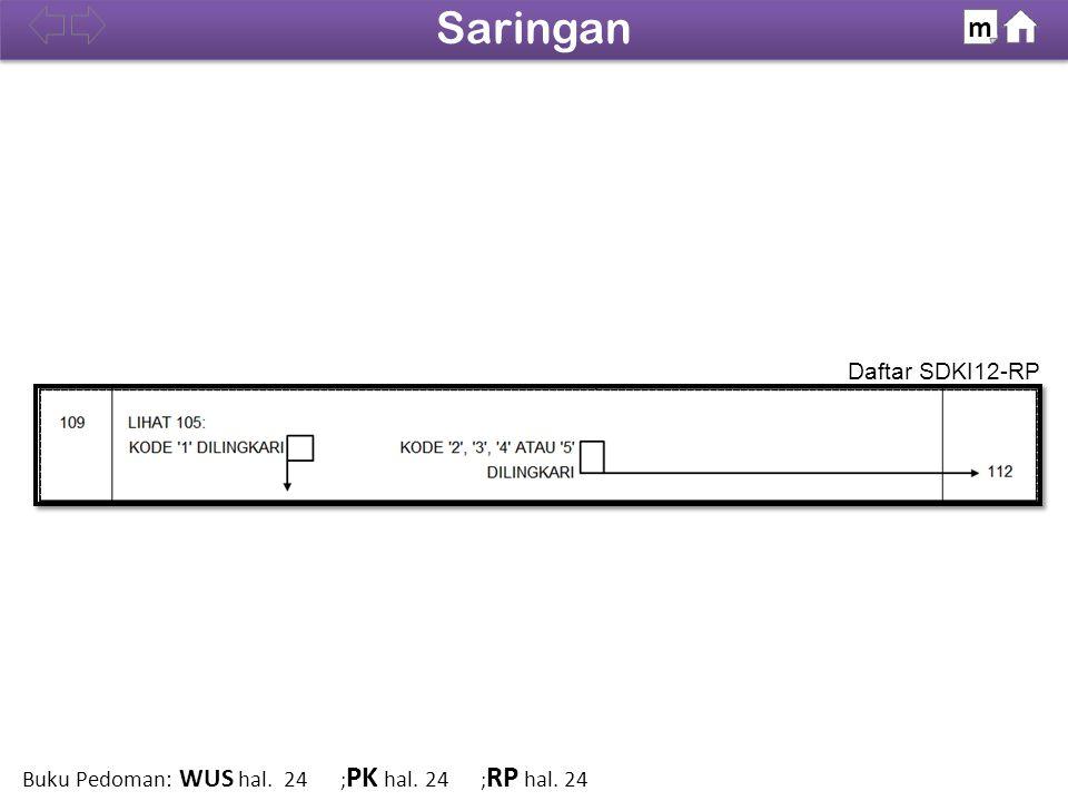 Daftar SDKI12-RP 100% Saringan m Buku Pedoman: WUS hal. 24 ; PK hal. 24 ; RP hal. 24