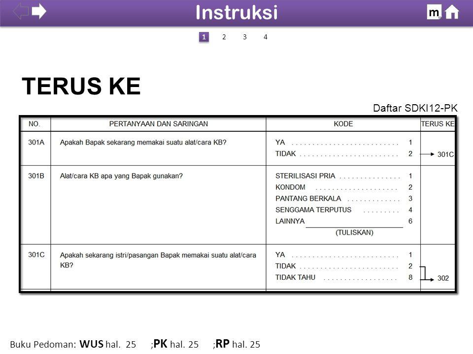 Daftar SDKI12-PK TERUS KE 100% SDKI 2012 Instruksi m 1 1 423 Buku Pedoman: WUS hal. 25 ; PK hal. 25 ; RP hal. 25