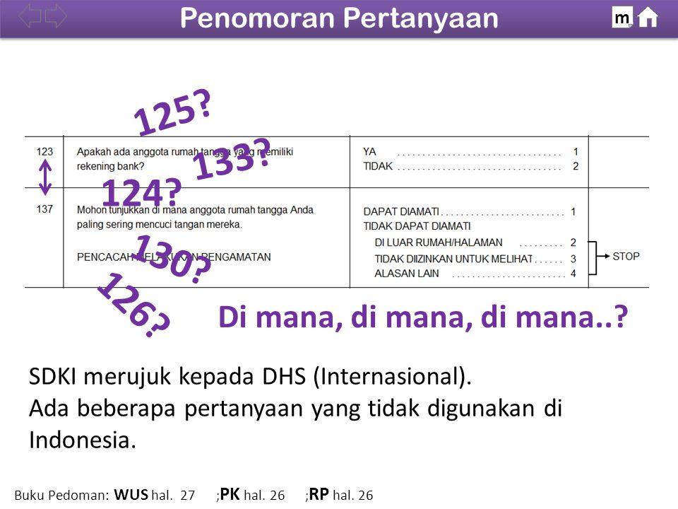 SDKI merujuk kepada DHS (Internasional). Ada beberapa pertanyaan yang tidak digunakan di Indonesia. 124? 125? 126? 130? 133? 100% Penomoran Pertanyaan
