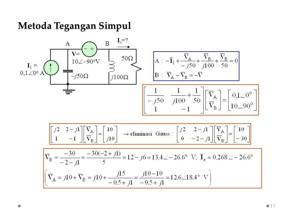 Metoda Tegangan Simpul   I 1 = 0,1  0 o A V= 10  90 o V  j50  j100  50  I x = AB 11
