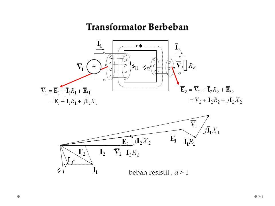beban resistif, a > 1 Transformator Berbeban 30    l1 l1  l2l2 RBRB