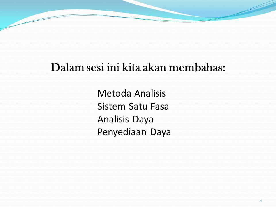 Dalam sesi ini kita akan membahas: 4 Metoda Analisis Sistem Satu Fasa Analisis Daya Penyediaan Daya