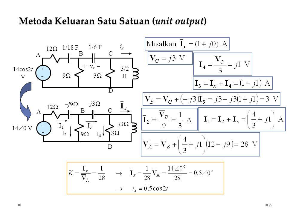 + v x  ++ 14cos2t V 12  A BC D 99 33 ixix 3/2 H 1/6 F 1/18 F Metoda Keluaran Satu Satuan (unit output) 6 j9j9 j3j3 ++ 14  0 V 12  A BC D 99 33 j3  I 1 I2I2 I 3 I4I4