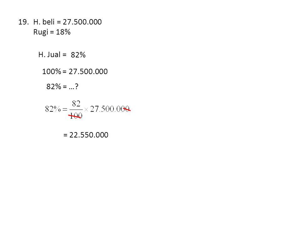 19.H. beli = 27.500.000 Rugi = 18% H. Jual = … % 82% 100% = 27.500.000 82% = …? = 22.550.000