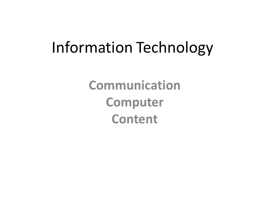 Information Technology Communication Computer Content