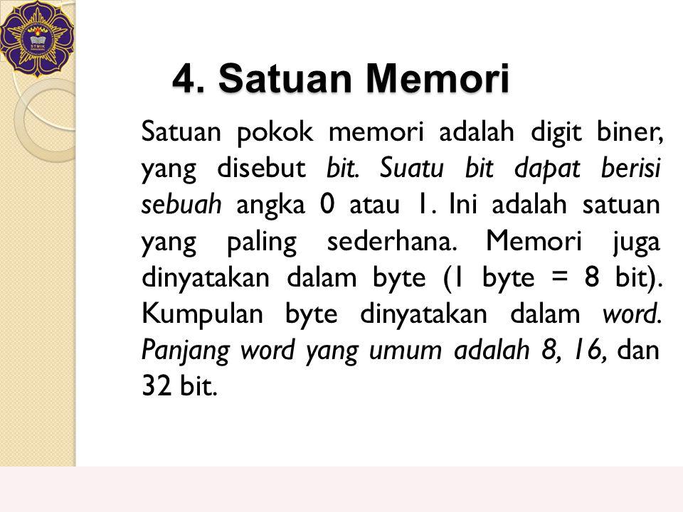 4. Satuan Memori Satuan pokok memori adalah digit biner, yang disebut bit. Suatu bit dapat berisi sebuah angka 0 atau 1. Ini adalah satuan yang paling