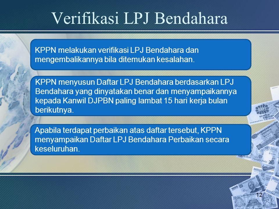 Verifikasi LPJ Bendahara 12 KPPN melakukan verifikasi LPJ Bendahara dan mengembalikannya bila ditemukan kesalahan. KPPN menyusun Daftar LPJ Bendahara