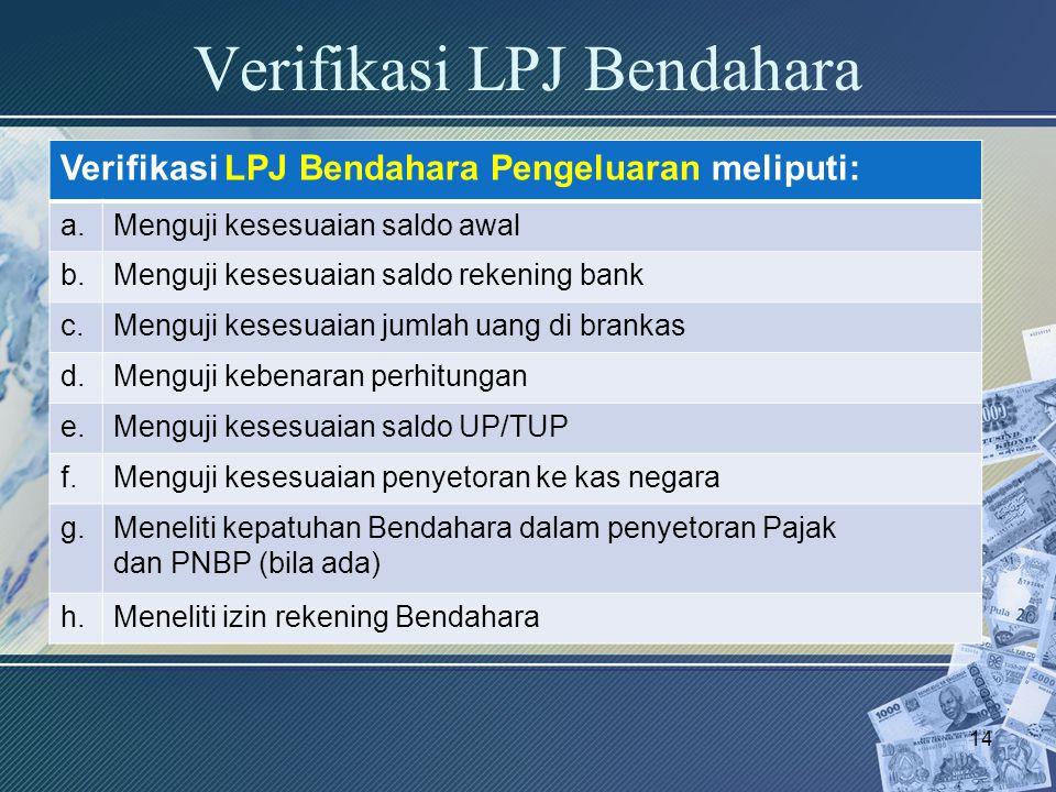 Verifikasi LPJ Bendahara Verifikasi LPJ Bendahara Pengeluaran meliputi: a.Menguji kesesuaian saldo awal b.Menguji kesesuaian saldo rekening bank c.Men