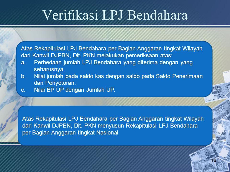Verifikasi LPJ Bendahara 16 Atas Rekapitulasi LPJ Bendahara per Bagian Anggaran tingkat Wilayah dari Kanwil DJPBN, Dit. PKN melakukan pemeriksaan atas