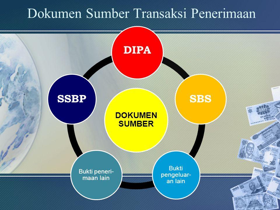 Dokumen Sumber Transaksi Penerimaan DOKUMEN SUMBER DIPA SBS Bukti pengeluar- an lain Bukti peneri- maan lain SSBP