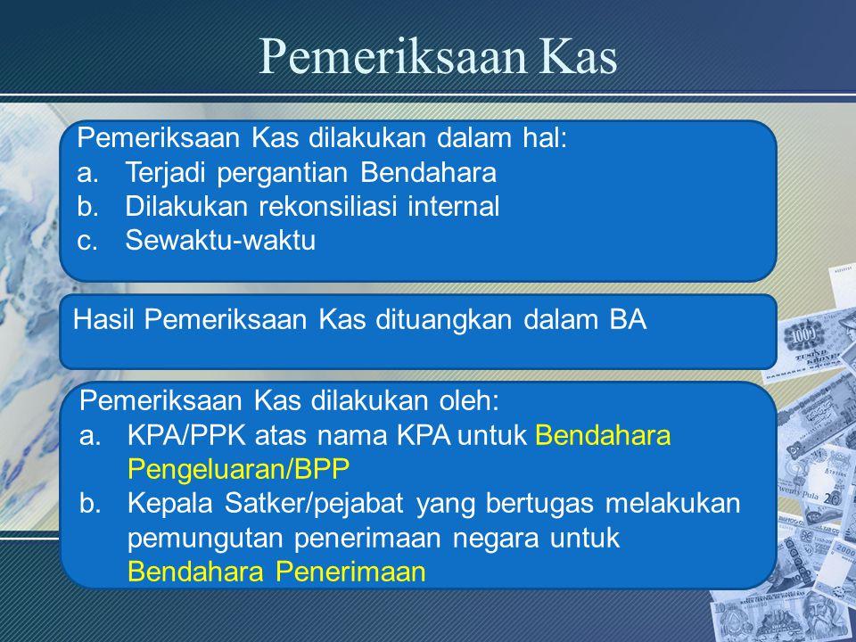 Pemeriksaan Kas Pemeriksaan Kas dilakukan dalam hal: a.Terjadi pergantian Bendahara b.Dilakukan rekonsiliasi internal c.Sewaktu-waktu Hasil Pemeriksaa