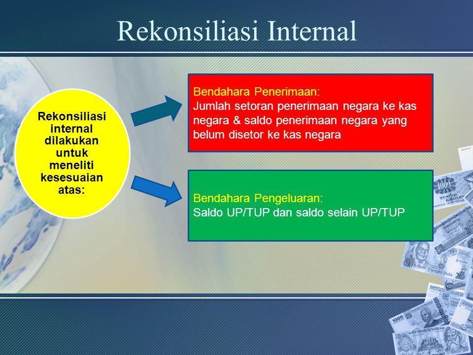 Rekonsiliasi Internal Rekonsiliasi internal dilakukan untuk meneliti kesesuaian atas: Bendahara Penerimaan: Jumlah setoran penerimaan negara ke kas ne