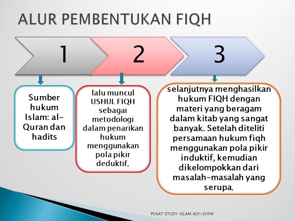 123 Sumber hukum Islam: al- Quran dan hadits lalu muncul USHUL FIQH sebagai metodologi dalam penarikan hukum menggunakan pola pikir deduktif, selanjut