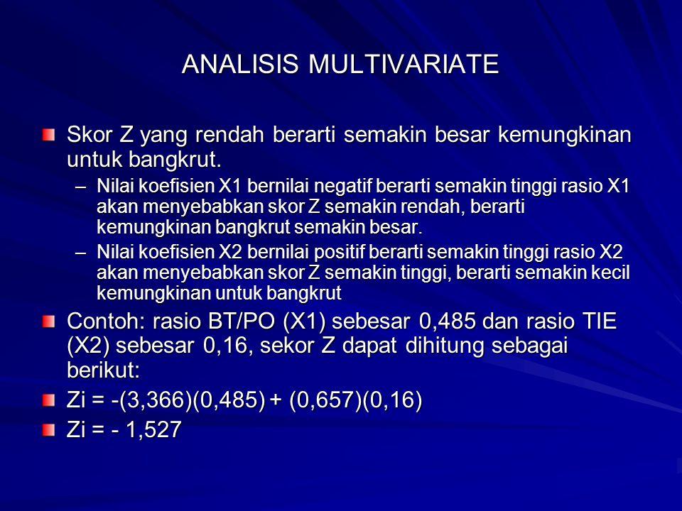 ANALISIS MULTIVARIATE Skor Z yang rendah berarti semakin besar kemungkinan untuk bangkrut. –Nilai koefisien X1 bernilai negatif berarti semakin tinggi