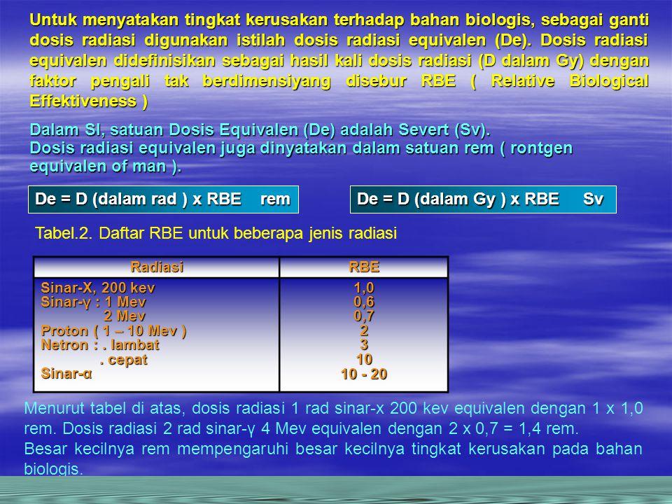 Untuk menyatakan tingkat kerusakan terhadap bahan biologis, sebagai ganti dosis radiasi digunakan istilah dosis radiasi equivalen (De).