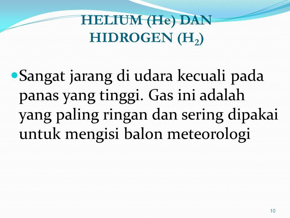 HELIUM (He) DAN HIDROGEN (H 2 )  Sangat jarang di udara kecuali pada panas yang tinggi. Gas ini adalah yang paling ringan dan sering dipakai untuk me