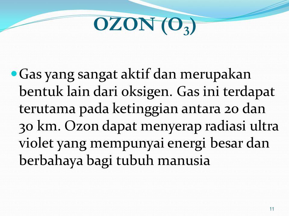 OZON (O 3 )  Gas yang sangat aktif dan merupakan bentuk lain dari oksigen. Gas ini terdapat terutama pada ketinggian antara 20 dan 30 km. Ozon dapat