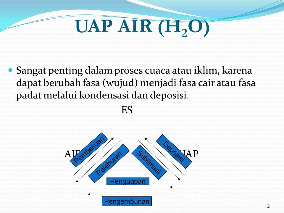 UAP AIR (H 2 O)  Sangat penting dalam proses cuaca atau iklim, karena dapat berubah fasa (wujud) menjadi fasa cair atau fasa padat melalui kondensasi dan deposisi.