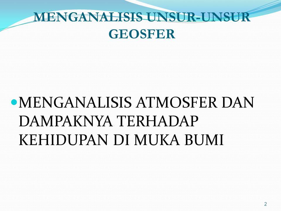 MENGANALISIS UNSUR-UNSUR GEOSFER  MENGANALISIS ATMOSFER DAN DAMPAKNYA TERHADAP KEHIDUPAN DI MUKA BUMI 2