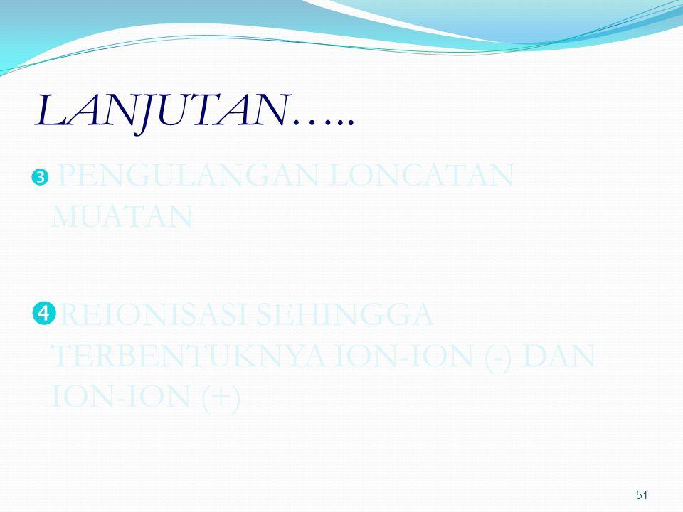 LANJUTAN…..  PENGULANGAN LONCATAN MUATAN  REIONISASI SEHINGGA TERBENTUKNYA ION-ION (-) DAN ION-ION (+) 51