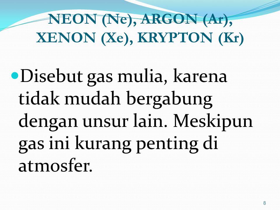 NEON (Ne), ARGON (Ar), XENON (Xe), KRYPTON (Kr)  Disebut gas mulia, karena tidak mudah bergabung dengan unsur lain.