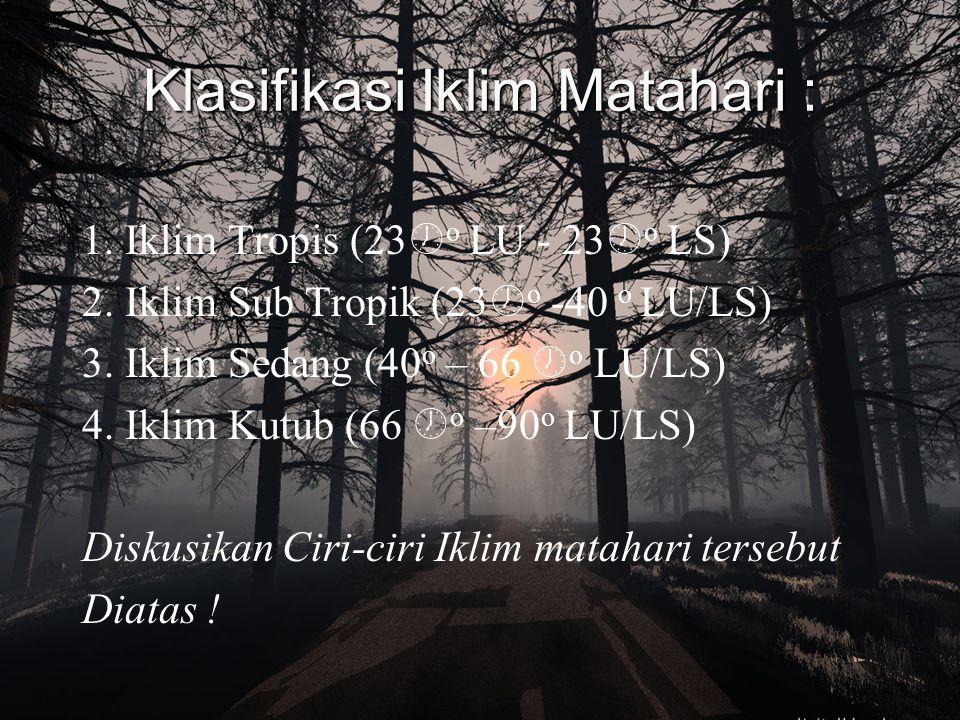 IKLIM (climate) Berdasarkan Letak lintang dan ketinggian tempat, Iklim dikelompokkan menjadi :  Iklim Matahari  Iklim Fisis Iklim Matahari : Iklim d