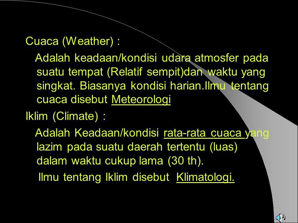 Pembagian Iklim menurut W.KOPPEN Ahli Iklim Jerman Wladimir Koppen membuat Klasifikasi Iklim di seluruh dunia berdasarkan Curah Hujan dan Suhu Udara sbb: A = Iklim Khatulistiwa B = Iklim Kering C = Iklim Sedang (Laut) D = Iklim Sedang (Darat) E = Iklim Dingin atau Salju Cari Informasi lebih lengkap tentang Klasifikasi Iklim Koppen.