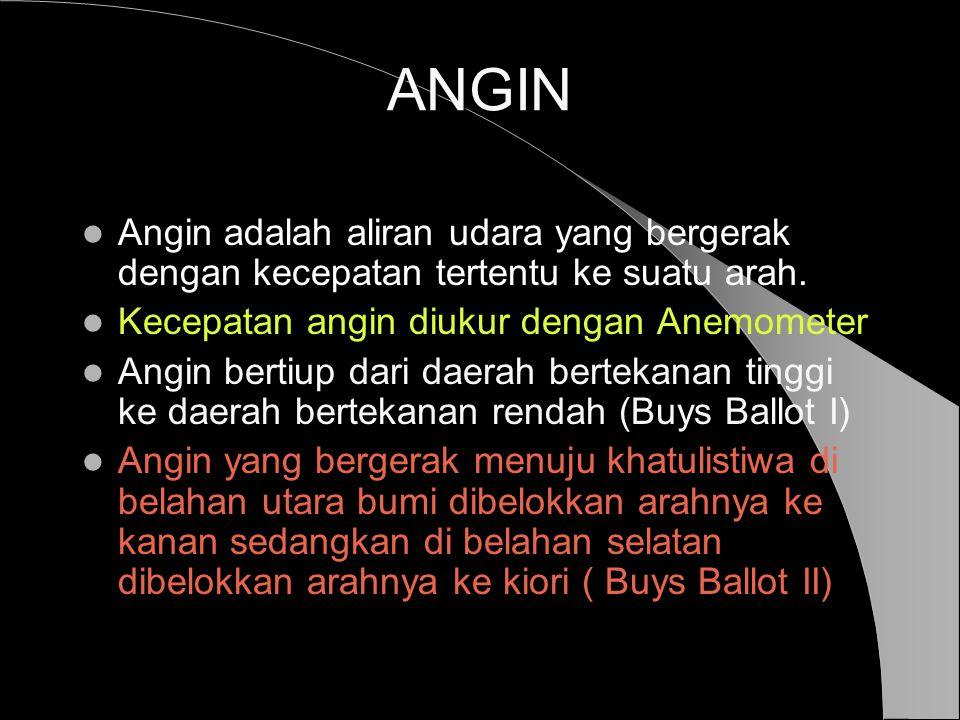 ANGIN  Angin adalah aliran udara yang bergerak dengan kecepatan tertentu ke suatu arah.