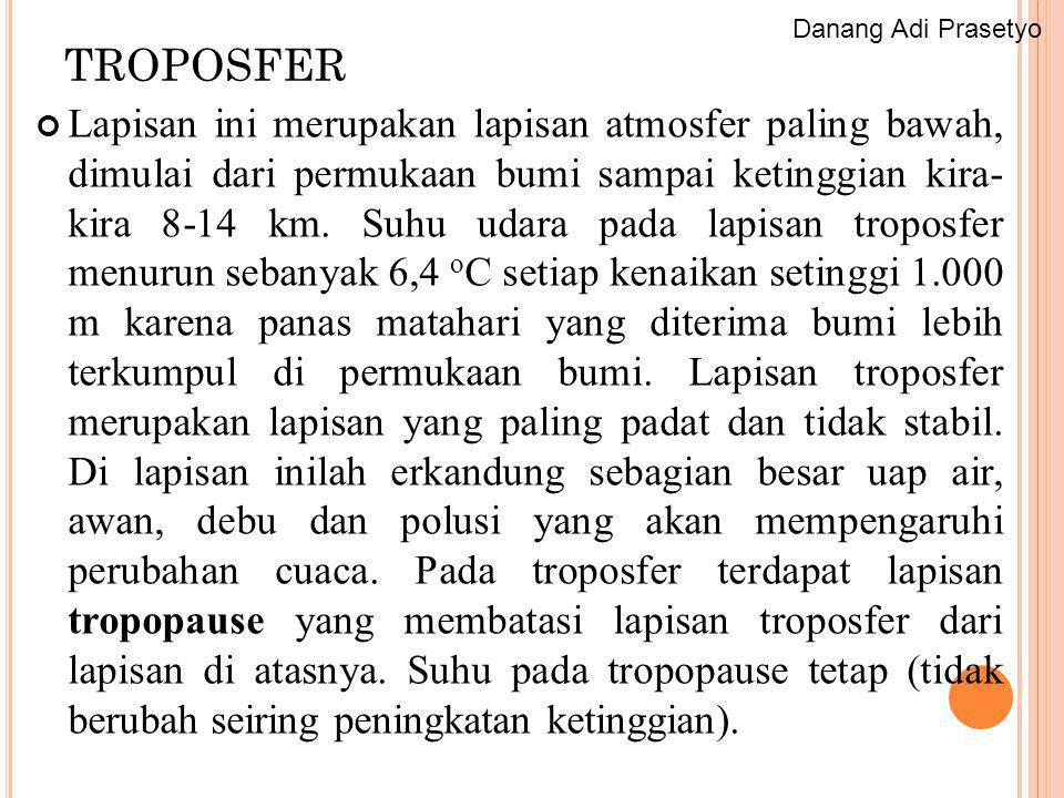STRATOSFER Lapisan ini terletak di atas troposfer, sampai ketinggian ± 50 km.