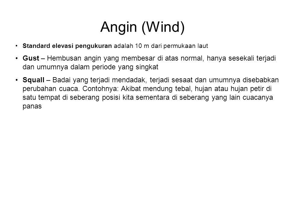 Angin (Wind) •Standard elevasi pengukuran adalah 10 m dari permukaan laut •Gust – Hembusan angin yang membesar di atas normal, hanya sesekali terjadi dan umumnya dalam periode yang singkat •Squall – Badai yang terjadi mendadak, terjadi sesaat dan umumnya disebabkan perubahan cuaca.