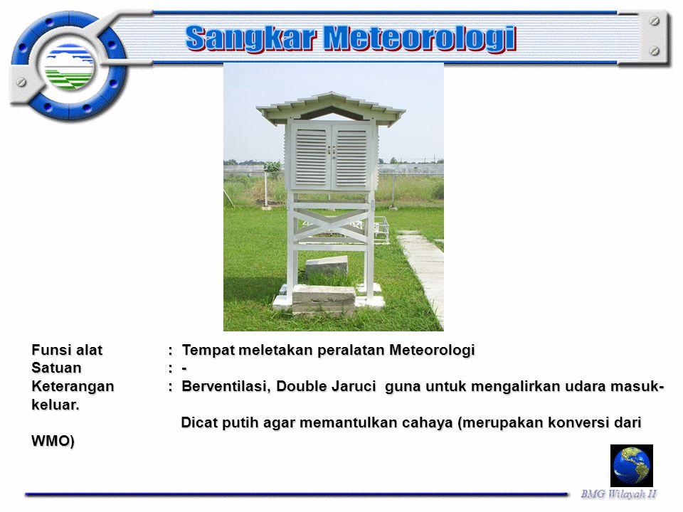 Funsi alat: Tempat meletakan peralatan Meteorologi Satuan: - Keterangan: Berventilasi, Double Jaruci guna untuk mengalirkan udara masuk- keluar. Dicat