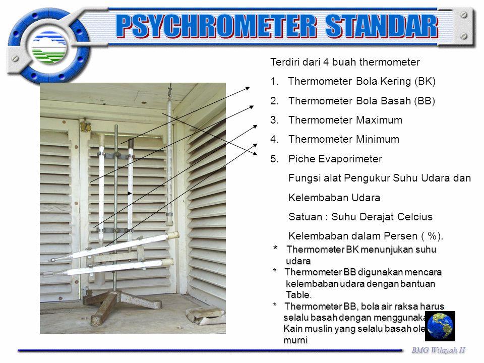 Terdiri dari 4 buah thermometer 1. Thermometer Bola Kering (BK) 2.Thermometer Bola Basah (BB) 3.Thermometer Maximum 4.Thermometer Minimum 5.Piche Evap