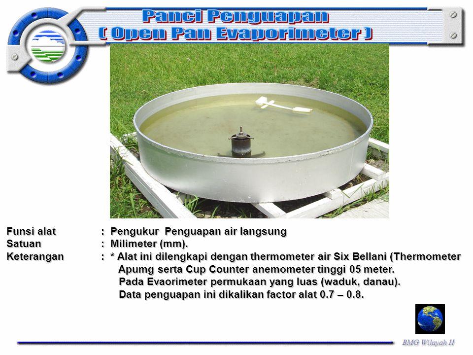 Funsi alat: Pengukur Penguapan air langsung Satuan: Milimeter (mm). Keterangan: * Alat ini dilengkapi dengan thermometer air Six Bellani (Thermometer
