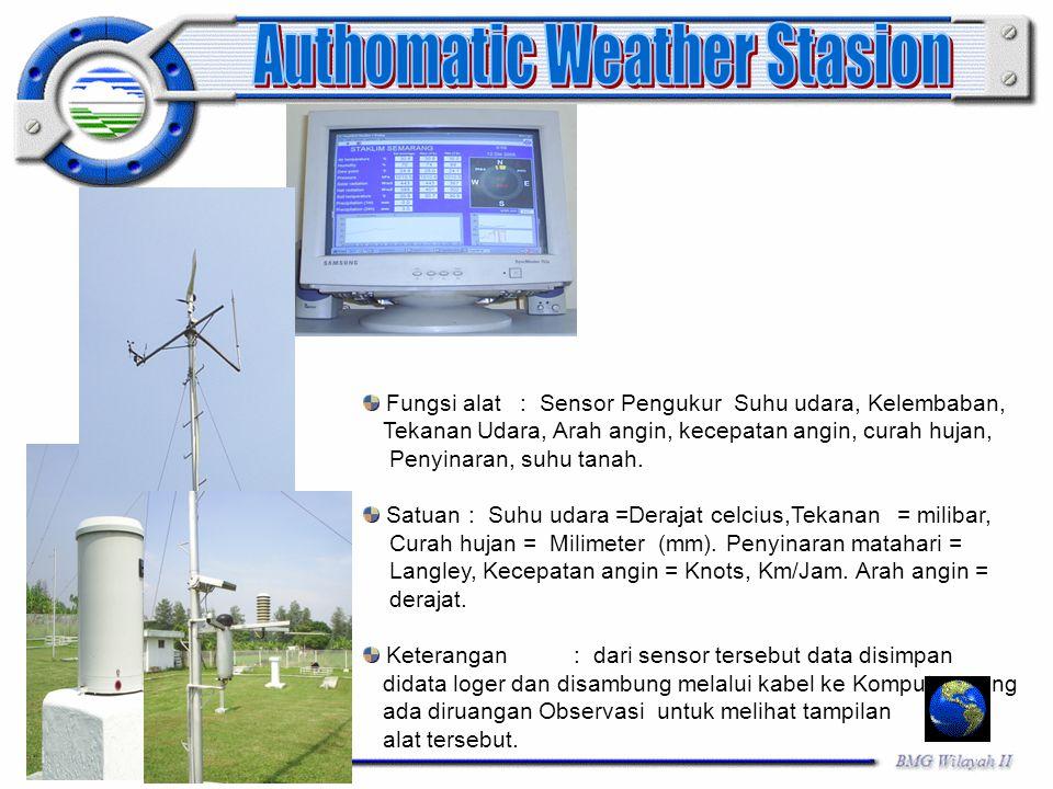 Fungsi alat : Sensor Pengukur Suhu udara, Kelembaban, Tekanan Udara, Arah angin, kecepatan angin, curah hujan, Penyinaran, suhu tanah. Satuan: Suhu ud
