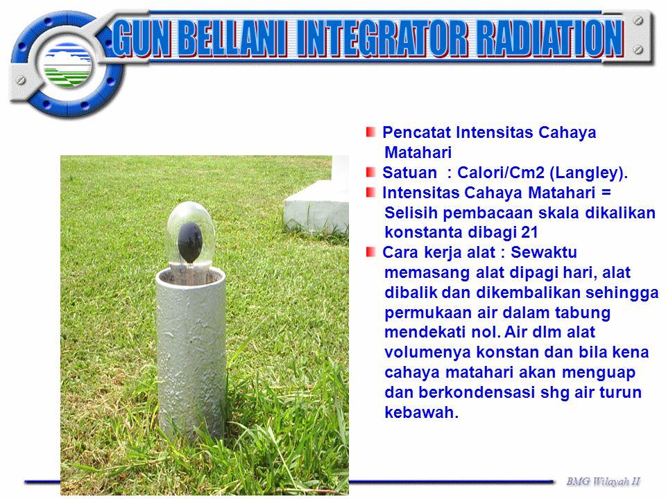 Pencatat Intensitas Cahaya Matahari Satuan : Calori/Cm2 (Langley). Intensitas Cahaya Matahari = Selisih pembacaan skala dikalikan konstanta dibagi 21