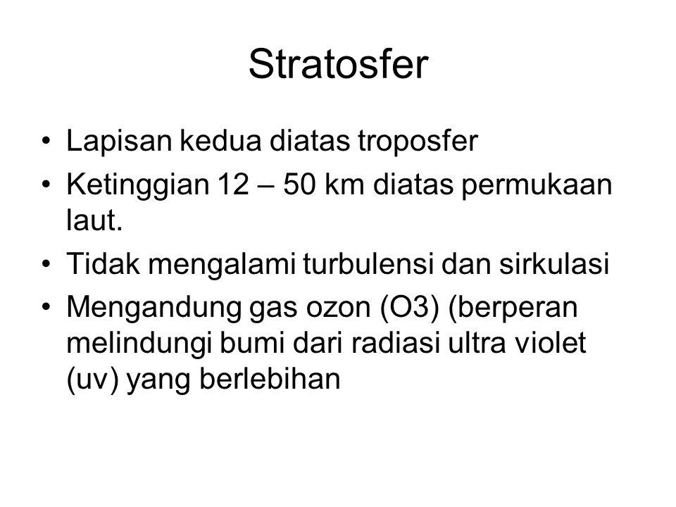 Stratosfer •Lapisan kedua diatas troposfer •Ketinggian 12 – 50 km diatas permukaan laut. •Tidak mengalami turbulensi dan sirkulasi •Mengandung gas ozo