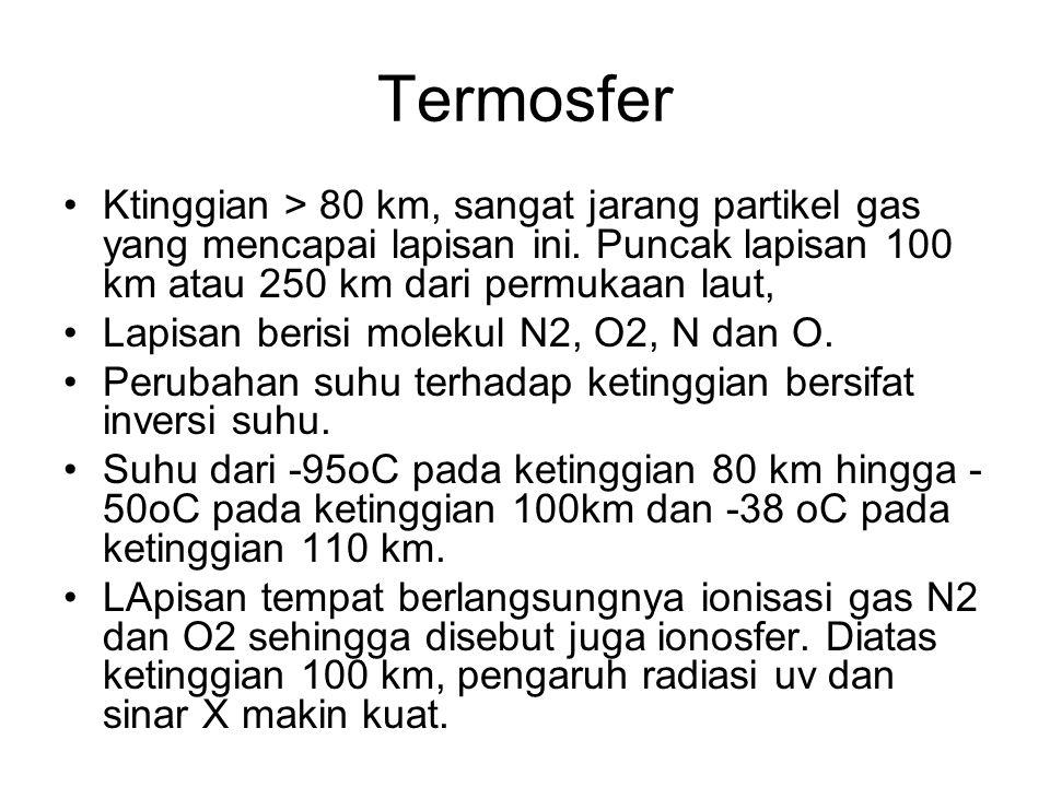 Termosfer •Ktinggian > 80 km, sangat jarang partikel gas yang mencapai lapisan ini. Puncak lapisan 100 km atau 250 km dari permukaan laut, •Lapisan be