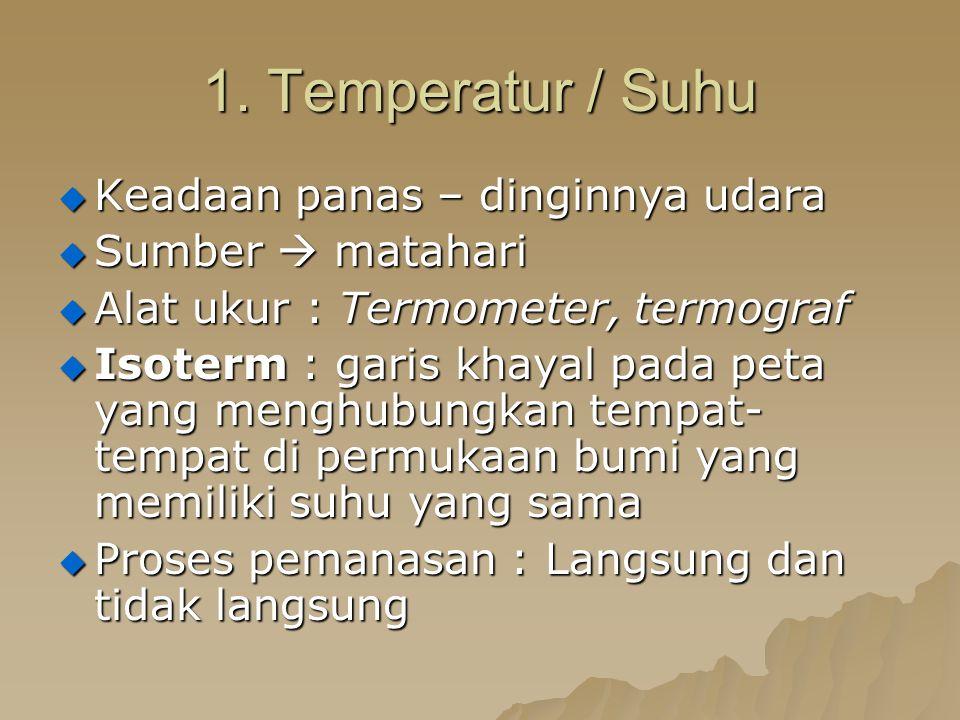 1. Temperatur / Suhu  Keadaan panas – dinginnya udara  Sumber  matahari  Alat ukur : Termometer, termograf  Isoterm : garis khayal pada peta yang