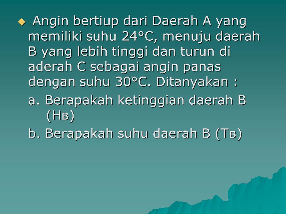 Angin bertiup dari Daerah A yang memiliki suhu 24°C, menuju daerah B yang lebih tinggi dan turun di aderah C sebagai angin panas dengan suhu 30°C. D