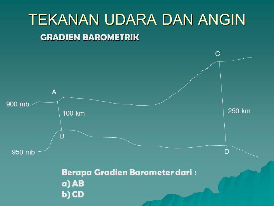 GRADIEN BAROMETRIK TEKANAN UDARA DAN ANGIN A B C D 950 mb 900 mb 100 km 250 km Berapa Gradien Barometer dari : a)AB b)CD