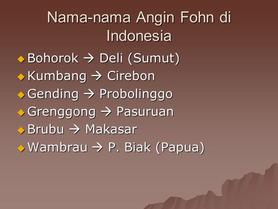 Nama-nama Angin Fohn di Indonesia  Bohorok  Deli (Sumut)  Kumbang  Cirebon  Gending  Probolinggo  Grenggong  Pasuruan  Brubu  Makasar  Wamb