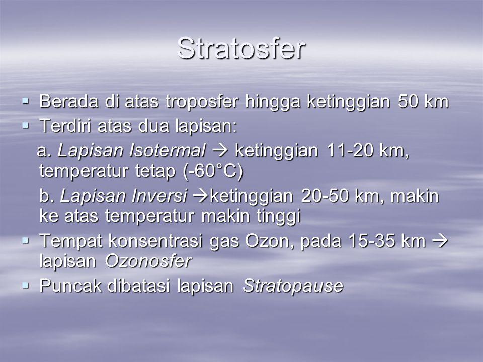 Stratosfer  Berada di atas troposfer hingga ketinggian 50 km  Terdiri atas dua lapisan: a. Lapisan Isotermal  ketinggian 11-20 km, temperatur tetap