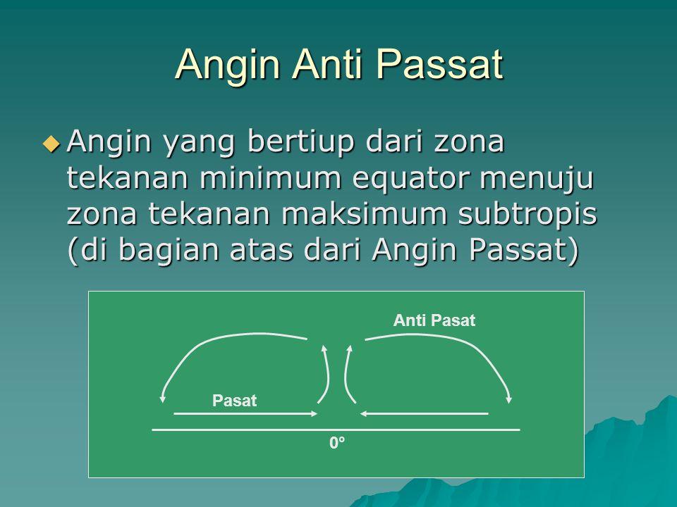Angin Anti Passat  Angin yang bertiup dari zona tekanan minimum equator menuju zona tekanan maksimum subtropis (di bagian atas dari Angin Passat) 0°0