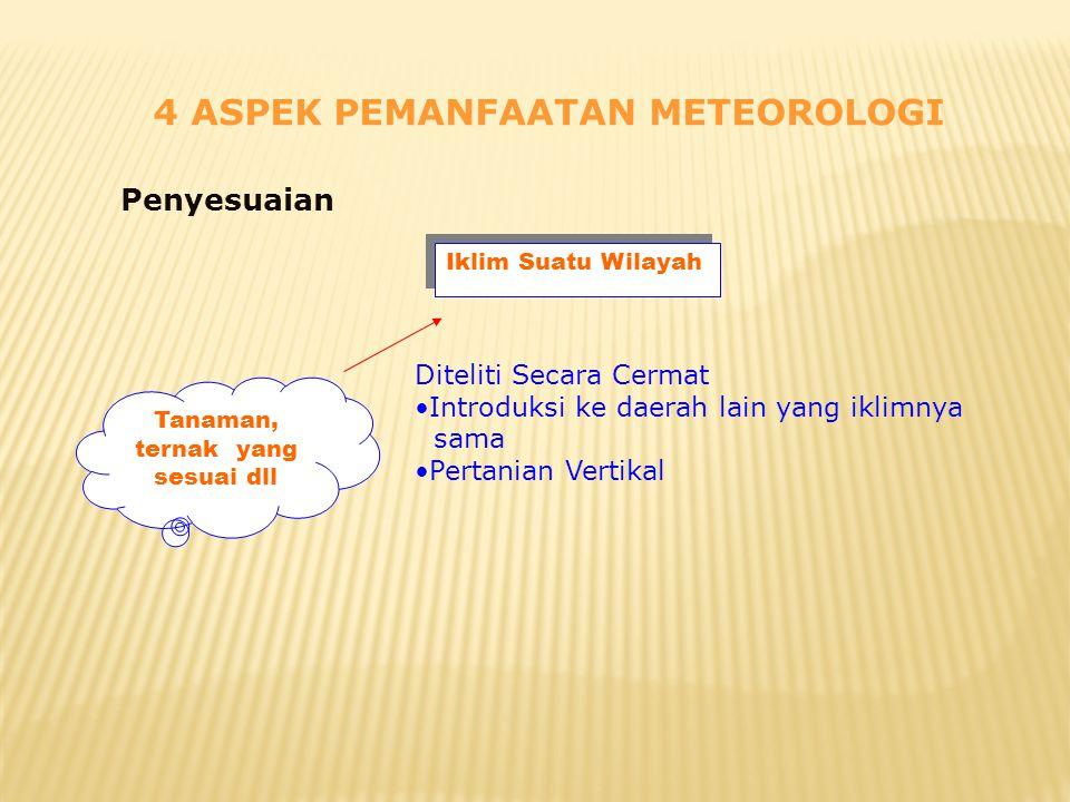 4 ASPEK PEMANFAATAN METEOROLOGI Penyesuaian Tanaman, ternak yang sesuai dll Iklim Suatu Wilayah Diteliti Secara Cermat •Introduksi ke daerah lain yang