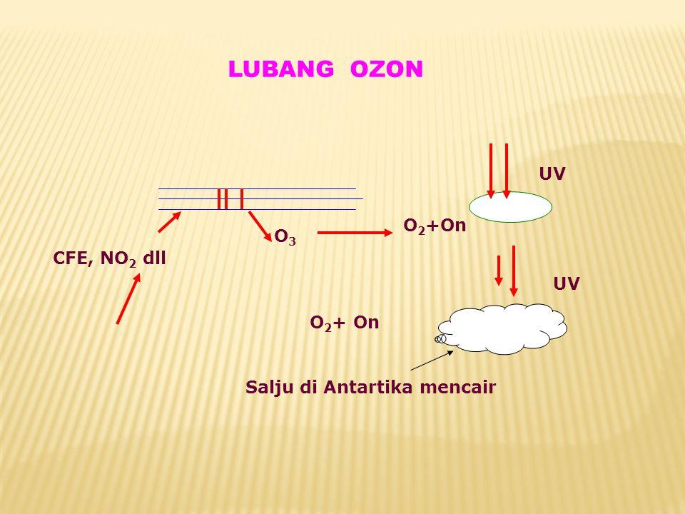 LUBANG OZON UV O3 O3 CFE, NO 2 dll O 2 +On Salju di Antartika mencair