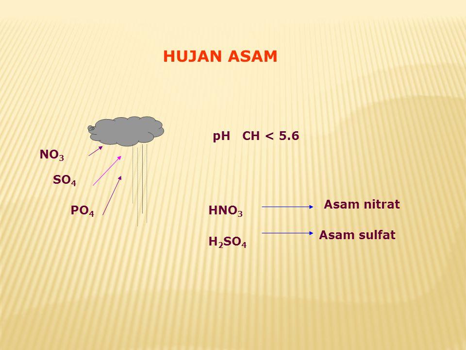 NO 3 SO 4 PO 4 pH CH < 5.6 HNO 3 H 2 SO 4 Asam nitrat Asam sulfat HUJAN ASAM