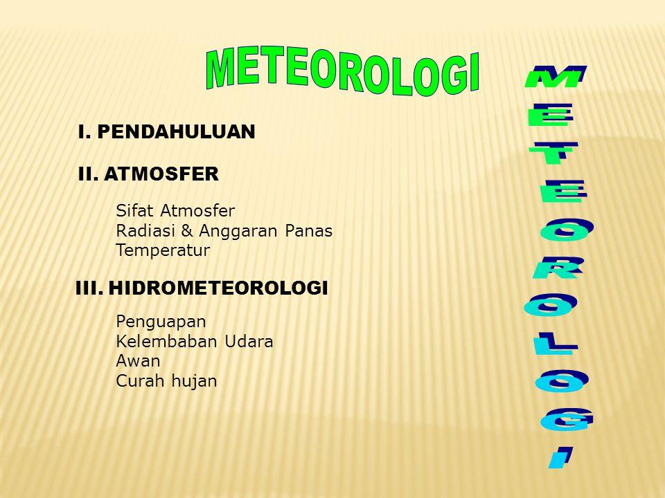 I. PENDAHULUAN II. ATMOSFER Sifat Atmosfer Radiasi & Anggaran Panas Temperatur III. HIDROMETEOROLOGI Penguapan Kelembaban Udara Awan Curah hujan